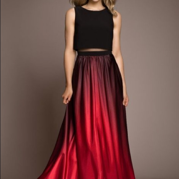 04f92893ed5 Betsy   Adam Dresses   Skirts - Betsy   Adam Red ombré illusion gown